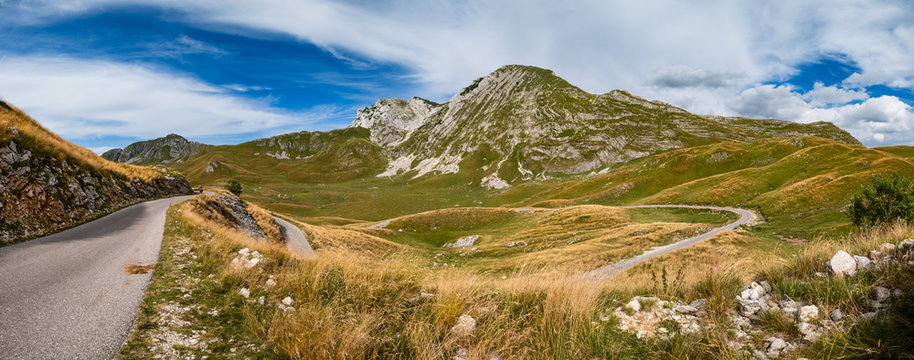 Summer mountain Durmitor panoramic road, Sedlo pass, Montenegro.
