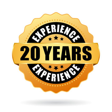 20 years experience vector badge isolated on white background