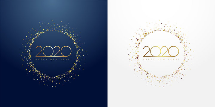 2020 in golden sparkling ring with dust glitter graphic on dark blue and white background. Happy New Year decorative glowing shiny design for award celebration