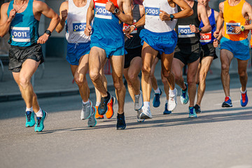 Fototapete - group of men athletes runners run in street city marathon
