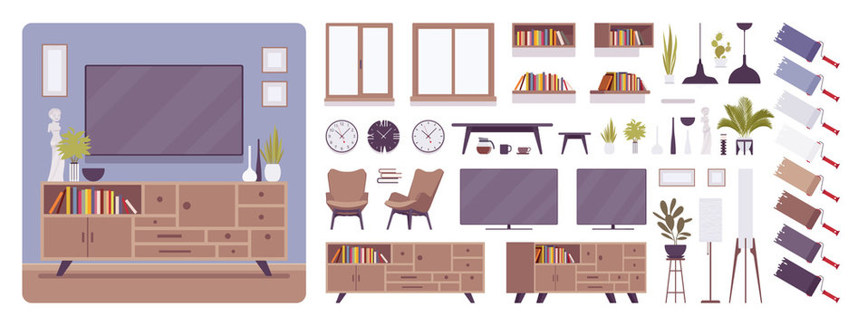 TV cabinet interior and television room design creation set, decor ideas, lounge furniture kit, constructor element to build your own design. Cartoon flat style infographic illustration, color palette