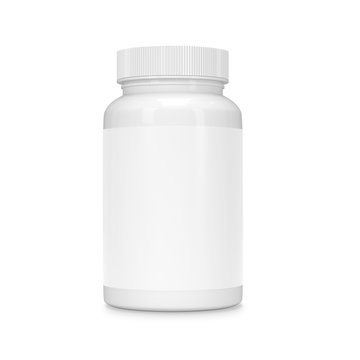 Food supplement package bottle for capsules isolated on white.
