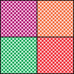 Set of seamless diagonal patterns of squares, diamonds. Random colors.