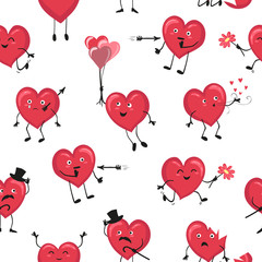 Valentine pattern with cute cartoon hearts. Seamless love background.