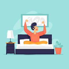 Morning man woke up in bed happy. Flat design vector illustration.