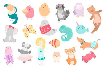Cute funny kawaii animals. Flat style illustration