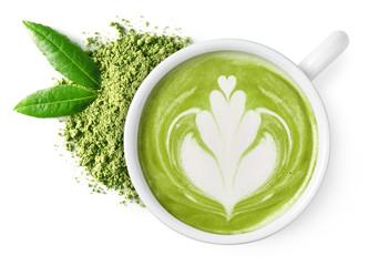 Cup of green tea matcha latte