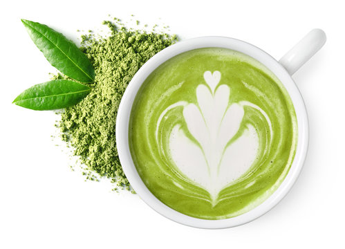 Cup of green tea matcha latte
