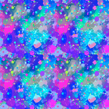 Seamless pattern from color splashes and smudges. Abstract seamless vector color background