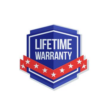 Lifetime Warranty Shield sign with ribbon illustration