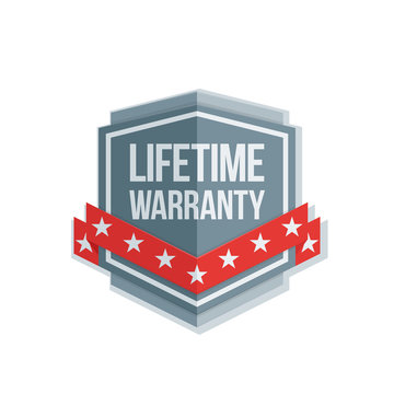 Lifetime Warranty Shield sign with ribbon illustration