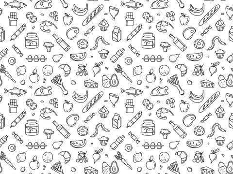Seamless pattern supermarket grosery store food, drinks, vegetables, fruits, fish, meat, dairy, sweets