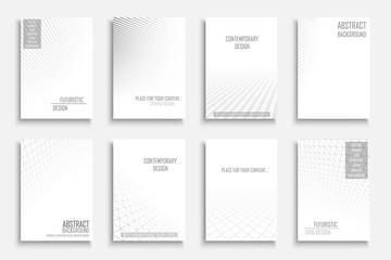 Collection of vector abstract contemporary geometric backgrounds. White futuristic creative 3d design with grid and striped vision perspective.