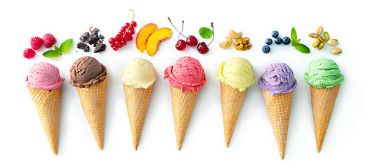 Fototapeta Various varieties of ice cream in cones isolated on white background