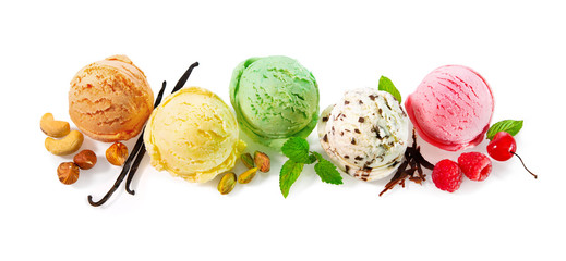 Various ice cream balls isolated on white background