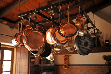 Group of different pans hanging in the kitchen