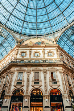 MILAN, ITALY - MAY 30, 2019: Louis Vuitton Store in galleria Vittorio Emanuele, the oldest shopping mall and major landmark in Italy visited by tourists all around the world