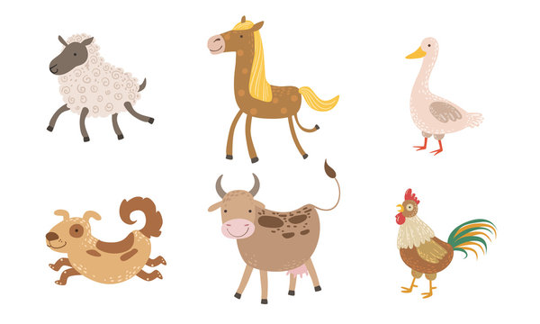 Cute Farm Animals Set, Sheep, Goose, Horse, Dog, Cow, Rooster Vector Illustration