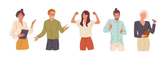 Confident people flat vector illustrations set. Presentation woman, college student and successful businesswoman. Girl celebrating victory, flirting man. Office workers, young team cartoon characters.
