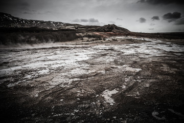 Recess Fitting Gray traffic Beautiful dramatic multicolored spring landscape of Iceland. Toned