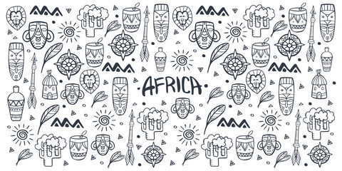 Hand draw doodles of Africa word. Colorful illustration. Background with lots of objects.