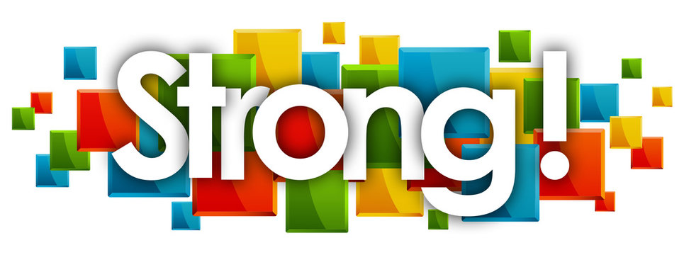 strong word in colored rectangles background