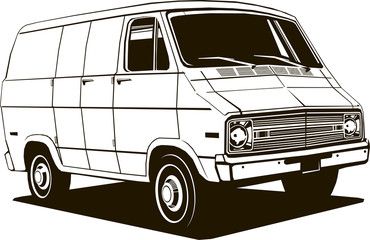 classic commercial van, 1970 s style, vector drawing, graphic, isolated, monogram, symbol, logo