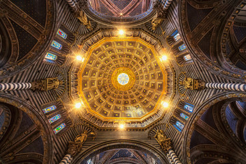 Interior view of Dome of Siena Cathedral (Duomo di Siena)