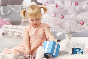 Little girl lost in christmas magic