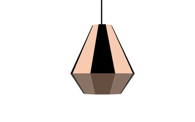 facet shaped copper colored pendant lamp 3d illustration isolated on white