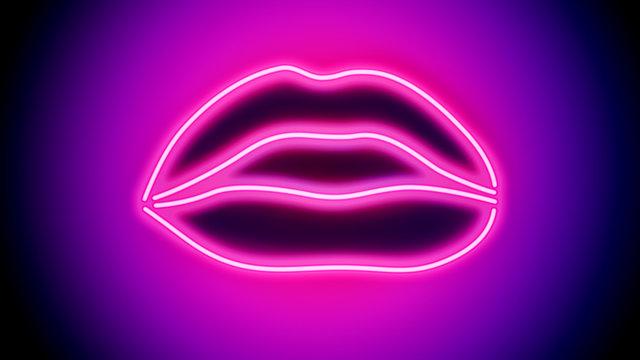 Shapely sensual Neon Lips - digitally generated image