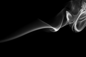fire of white smoke abstract on black background, darkness concept