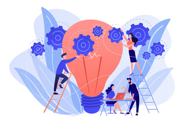 Business team putting gears on big lightbulb. New idea engineering, business model innovation and design thinking concept on white background. Living coral blue vector isolated illustration