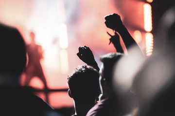 crowd of people having fun at concert - summer music festival