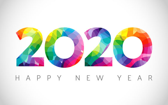 2020 A Happy New Year congrats. Stained glass logotype. Abstract isolated graphic design template. Xmas numbers. Coloured emblem. Sale digits, 2 % or up to 20% percent off idea. Calender title.