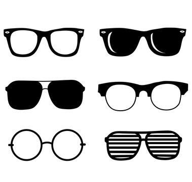 hand drawn black sunglasses vector illustration set. hipster style element design concept