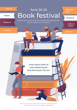 Book Festival Banner. Cartoon People Read on Book Stack Vector Illustration. Fantasy, Thriller, Western, Dystopia, Detective Story, Romance, Science, Fiction, Mystery. Bookshop Advertising
