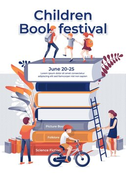 Children Book Fectival Banner. Cartoon Children on Book Stack Vector Illustration. Bookshop Bookstore Advertising. Picture Folklore Tale Science Fiction. Education Event. Family Fair