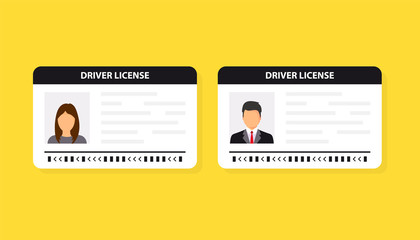 Driver license. ID card. Identification card icon. Man and woman driver license card template. Vector illustration flat design.