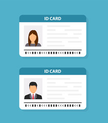 ID card. Identification card icon. Vector illustration flat design.