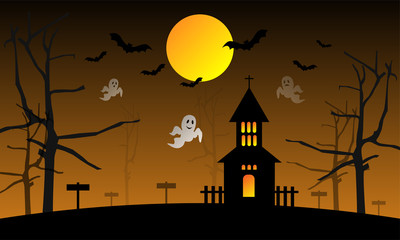 Halloween background with ghosts and a scary house under the full moon, Vector Illustration