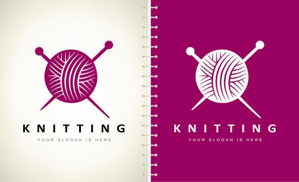 Knitting logo vector. Knitting a ball of thread and knitting needles logo vector.
