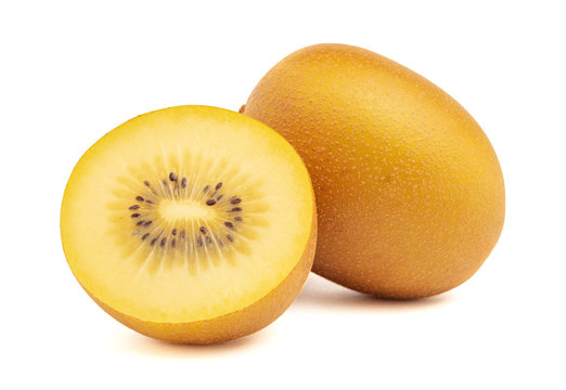 Gold kiwi fruit and slice half isolated on white background with clipping path