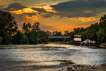 Ibar river in Kraljevo at sunset. Restaurants on a river.