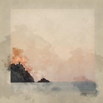 Digital watercolor painting of Stunning vibrant sunrise landscape image of Porthcurno beach on South Cornwall