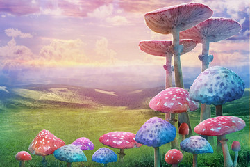 "fantastic wonderland landscape with mushrooms. illustration to the fairy tale ""Alice in Wonderland"""