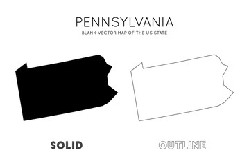 Pennsylvania map. Blank vector map of the Us State. Borders of Pennsylvania for your infographic. Vector illustration.