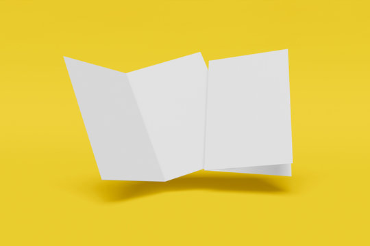 Two Mockup vertical booklet, brochure, invitation isolated on a yellow background with hard cover and realistic shadow. 3D rendering.