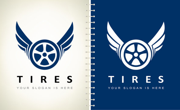 Wheel and tire with wings logo vector.