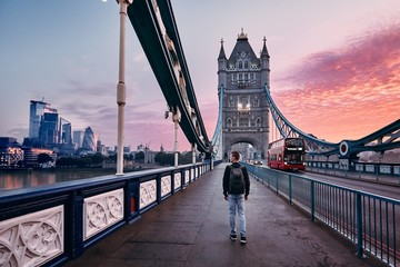 London at colorful sunrise